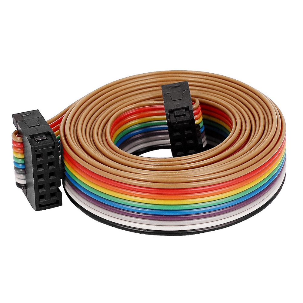 2.54mm Pitch 10Pin 10 Way F F Connector IDC Flat Rainbow Ribbon Cable Wire 148cm