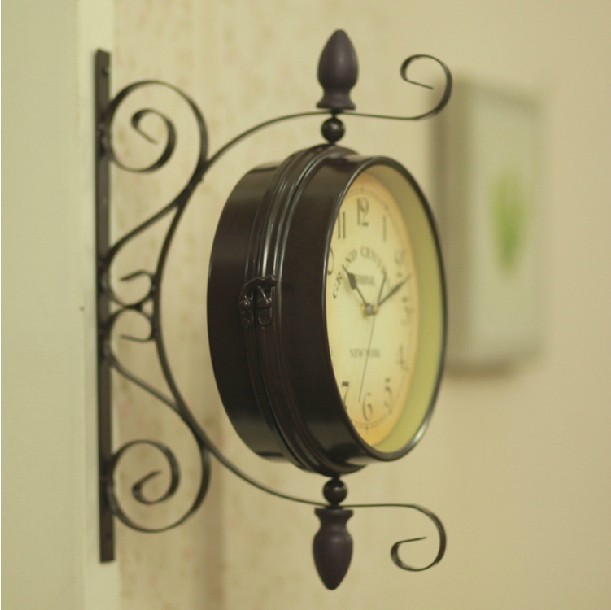 Free shipping Fashion vintage wrought iron olive wall watch rustic ...