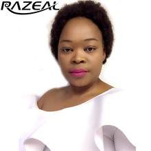 цена на Razeal 2 Inch 100g Synthetic Short Kinky Curly black color Afro Wig Fluffy Wigs Hair High Temperature Fiber