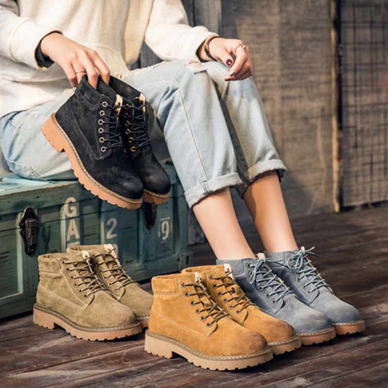 Jookrrix Autumn Winter Fashion Retro Real Leather Martin Boots Shoes Lady Boots Warm Cross-tied Shoes Ankle Black Soft Girl Boot