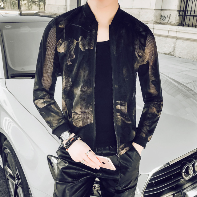 Fashion Summer Thin Jacket Men 2019 Slim Fit Stylish Print Bomber Jackets Long Sleeve Stand Collar Sun Protection Clothing 5XL-M