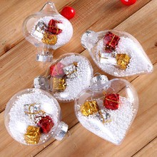 1 Pc Simple Plastic Christmas Tree Ball Clear Hanging Decoration Ornament Gifts Color Random