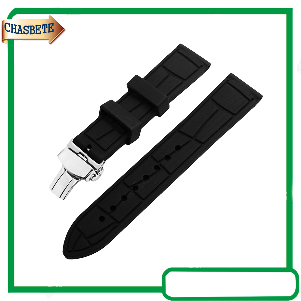 Montre de Silicone Rubber Band pour Fossiles Bracelet 20mm 22mm 24mm Hommes femmes Bracelet en Résine Bracelet de Ceinture Boucle Bracelet Noir + Outil + broches