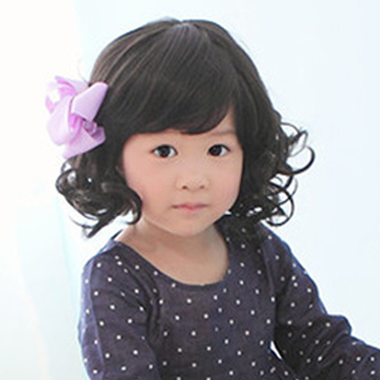 Baby Cosplay Wig Girls Children Short Curly Hair Wig Black