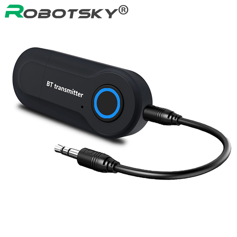 Wireless Bluetooth Transmitter Stereo 3.5MM Jack Audio Music Adapter for TV Phone PC Headphones Speakers multipoint wireless bluetooth transmitter for audio tv 3 5mm jack aptx music aux bluetooth 4 0 adapter for two headphones