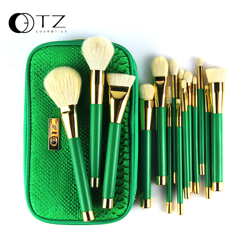 TZ Brand 15pcs Makeup Brushes Goat Hair Foundation Powder Blush Eyeshadow Make Up Brushes Green Makeup Brush Set with Bag pro 15pcs tz makeup brushes set powder foundation blush eyeshadow eyebrow face brush pincel maquiagem cosmetics kits with bag