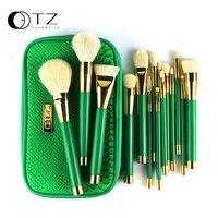 2015 New TZ Brand 15pcs Green Makeup Brush Sets Goat Hair Wood Handle Sets Good Quality