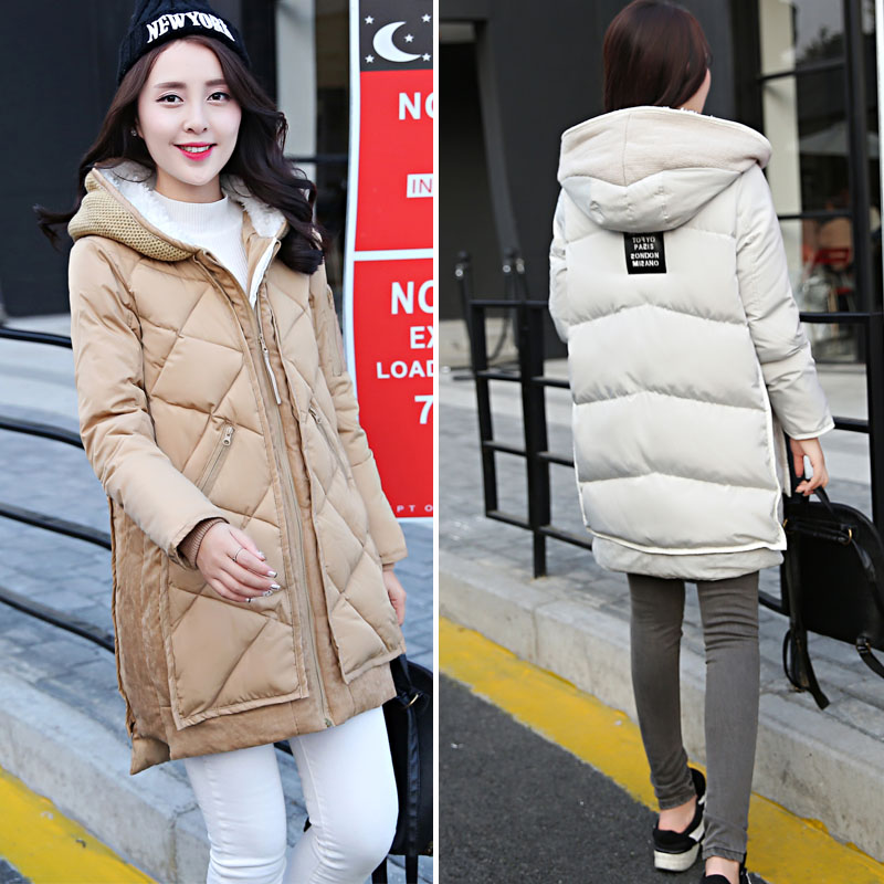 Plus size down cotton padded font b jacket b font medium long female maternity clothing thick