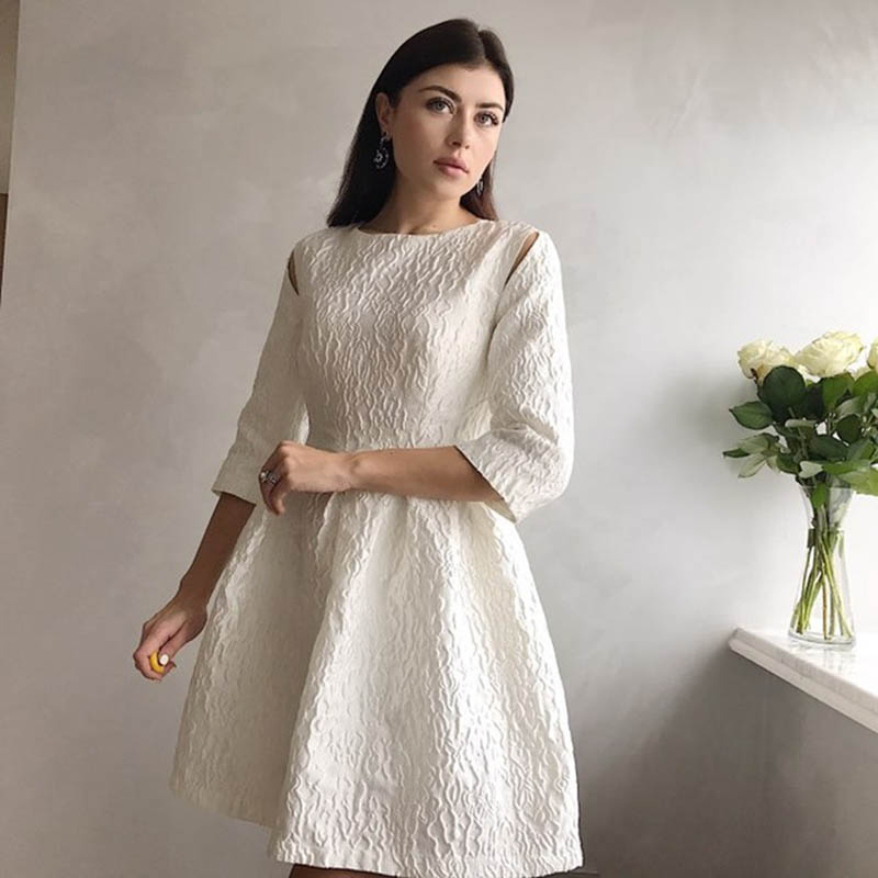 Women Dress White Spring A-Line Patchwork Pleated Long Sleeve Pullover Hollow Print Lady Beauty Sweety Elegant Female Dresses