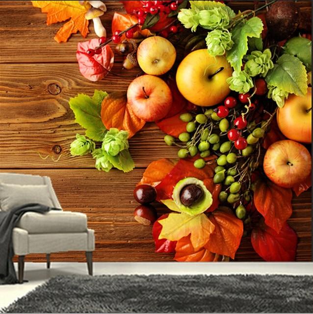 De custom 3D muurschilderingen, mooie maple bladeren apple, cafe ...