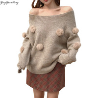 YingYuanFang Autumn new two wear a word collar long sleeve knit female hair ball decorative sweater