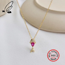 2019 New Cute Cartoon Fish Pendant Necklace For Women 925 Sterling Silver Pink CZ Gold Necklaces Fashion Jewelry Choker Kolye tongzhe sterling silver 925 necklaces jewelry round cz turkish evil eye necklace women necklace pendant fine jewelry kolye sale