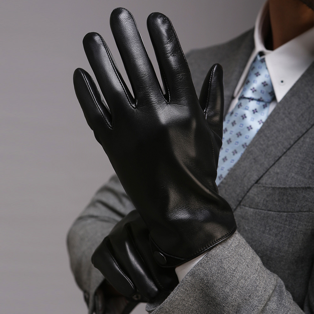 Black leather gloves with coloured fingers - Men Classic Black Touchscreen Leather Gloves Warm Fashion Winter Genuine Goatskin Driving Glove Five Finger M001nc2