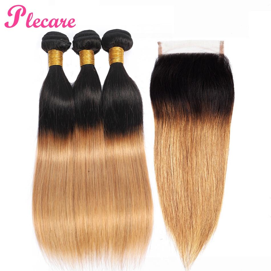 Plecare Brazilian Bundles With Closure Peruvian Straight 100 Human Hair Weave 3 Bundles With Closure T1B