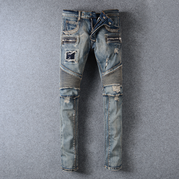 New Fashion Distressed Jeans Men Casual Denim Straight Design Biker Jeans homme Pants Skinny Runway Trousers