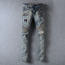 New Fashion Distressed Jeans Men Casual Denim Straight Design Biker Jeans homme Pants Skinny Runway Trousers vaqueros hombres