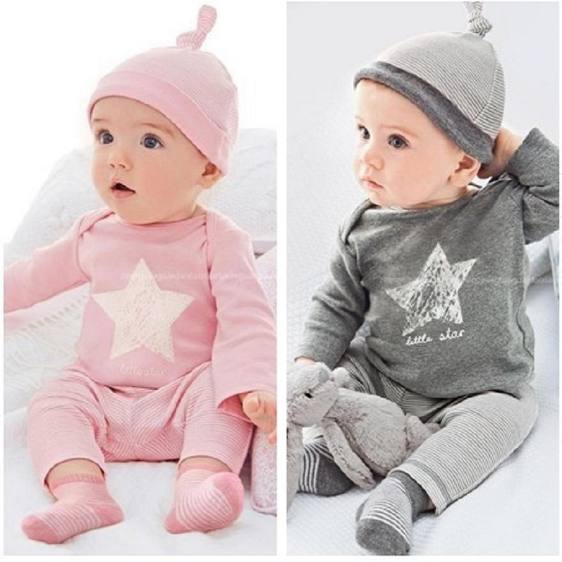 Baby Sets Star Printing Hat T Shirt Pant 3 PCS Set Long Sleeve Striped Spring Clothing Sets Baby Boy Girl Spring Clothes Set 2pcs children outfit clothes kids baby girl off shoulder cotton ruffled sleeve tops striped t shirt blue denim jeans sunsuit set