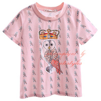 2017 New Style Boys T-Shirt Pink Animals Print Kids Tops Handsome Boy Clothing for 2-9Y BT90318-14L