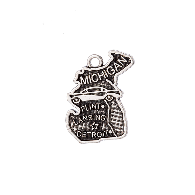 2 Style 50Pcs /Lots Double side Michigan State Map Dangle Charms DIY for Bracelet&Necklace Jewelry Wholesale