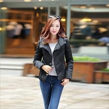 Korean female winter warm new Slim solid color hooded bat type general padded cotton jacket lapel