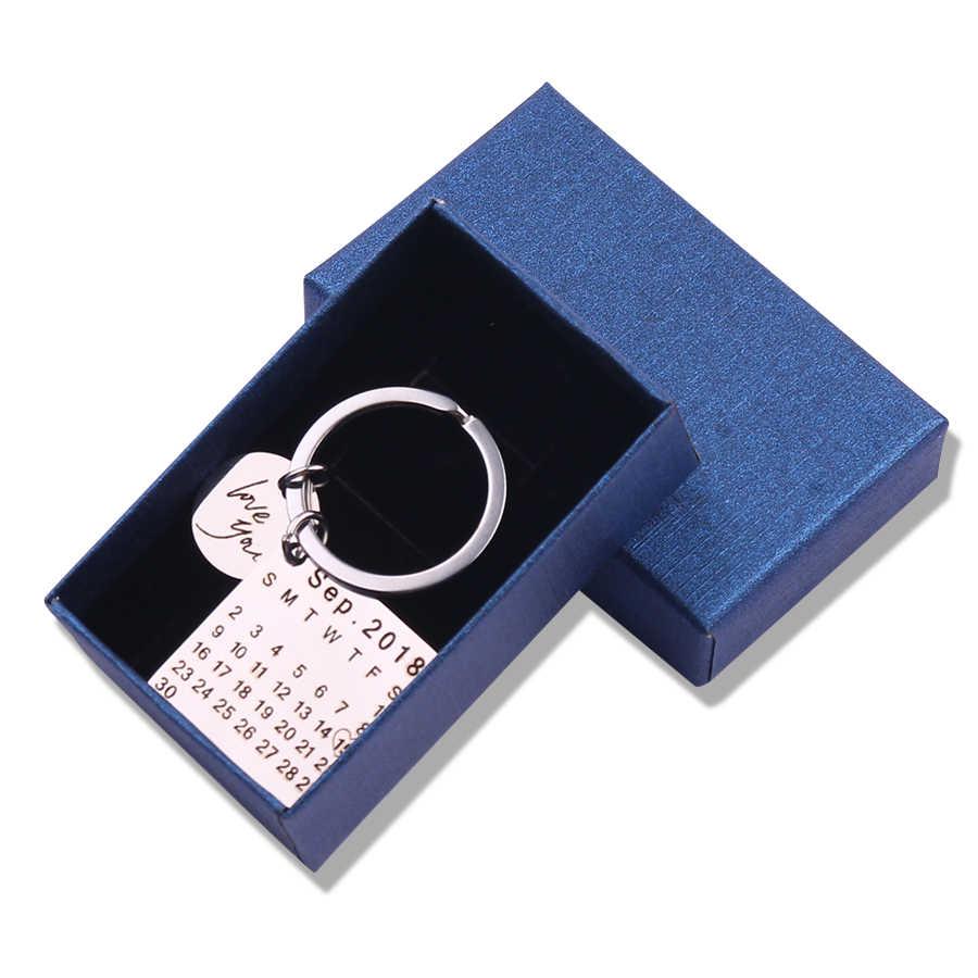 Venta del día del padre, llavero de calendario personalizado, llavero de calendario de firma, calendario grabado, fecha resaltada con corazón