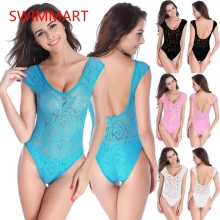 Translucent lace One-piece swimsuits  Gather Concentration sexy One-piece bikini backless women swimwear