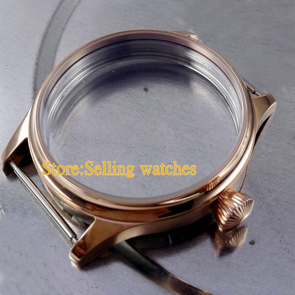 44mm Watch 316L stainless steel rose golden plated CASE fit 6498 6497 movement 46mm polished rose golden stainless steel watch case fit 6498 6497 movement c144