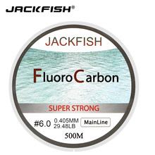 JACKFISH HOT SALE 500M Fluorocarbon Fishing Line 5-32LB test Carbon Fiber Leader Line 0.165-0.46mm fly fishing line pesca(China)