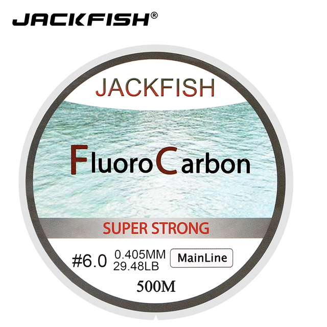 Cheap JACKFISH HOT SALE 500M Fluorocarbon Fishing Line  5-32LB test Carbon Fiber Leader Line 0.165-0.46mm fly fishing line pesca