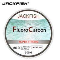 JACKFISH VENDITA CALDA 500M Fluorocarbon Linea di Pesca 5-32LB prova Leader Linea 0.165-0.46 millimetri In Fibra di Carbonio di pesca a mosca linea di pesca