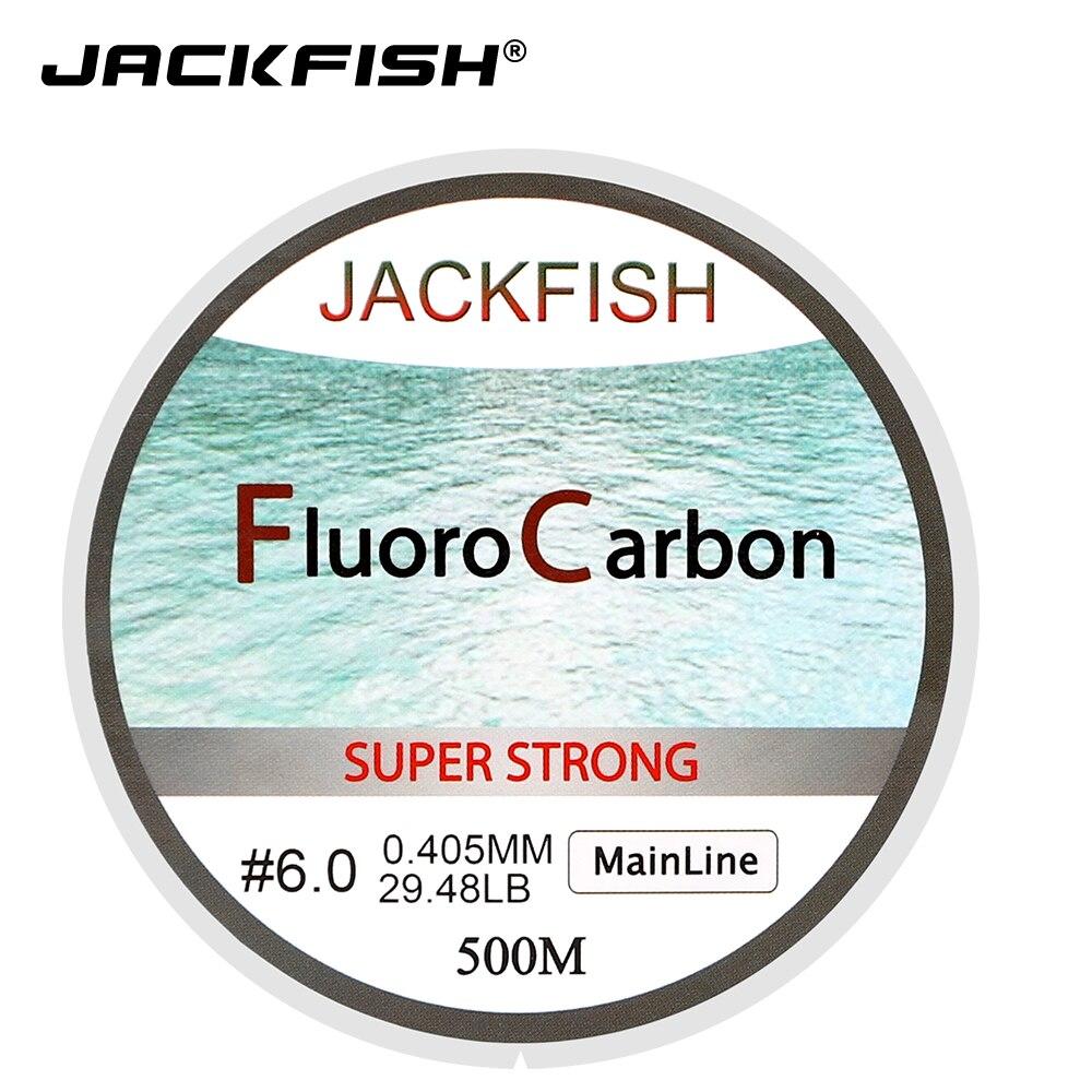 JACKFISH Venta caliente 500 m fluorocarbono línea de pesca 5-32LB prueba líder de fibra de carbono 0.165-0,46mm pesca con mosca pesca