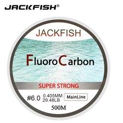 JACKFISH gran oferta 500M línea de pesca de fluorocarbono 5-32LB prueba de fibra de carbono línea líder 0.165-0,46mm línea de pesca con mosca