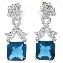 Classic London Blue Topaz White CZ Ladies Present Silver Earrings 27x11mm