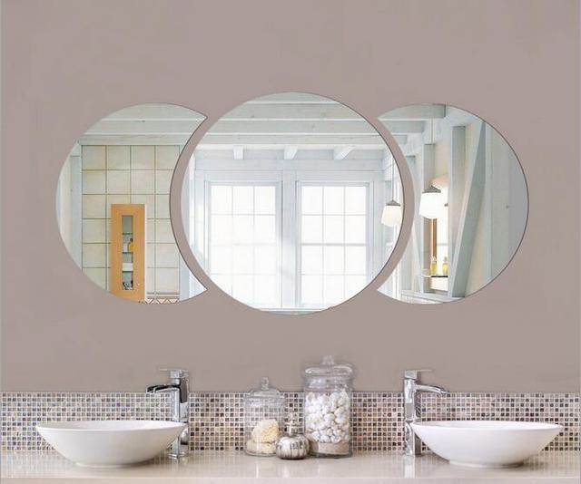 Diy 6030cm big round half circle simple wall mirror sticker 3d acrylic wall sticker