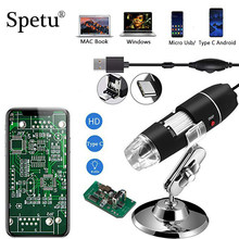 Spetu Digital Mikroskop Elektronische 2MP 1000X 8 LEDs 3IN1 USB Android Endoskop Kamera Microscopio Typ C Endoskop Zoom Kamera(China)