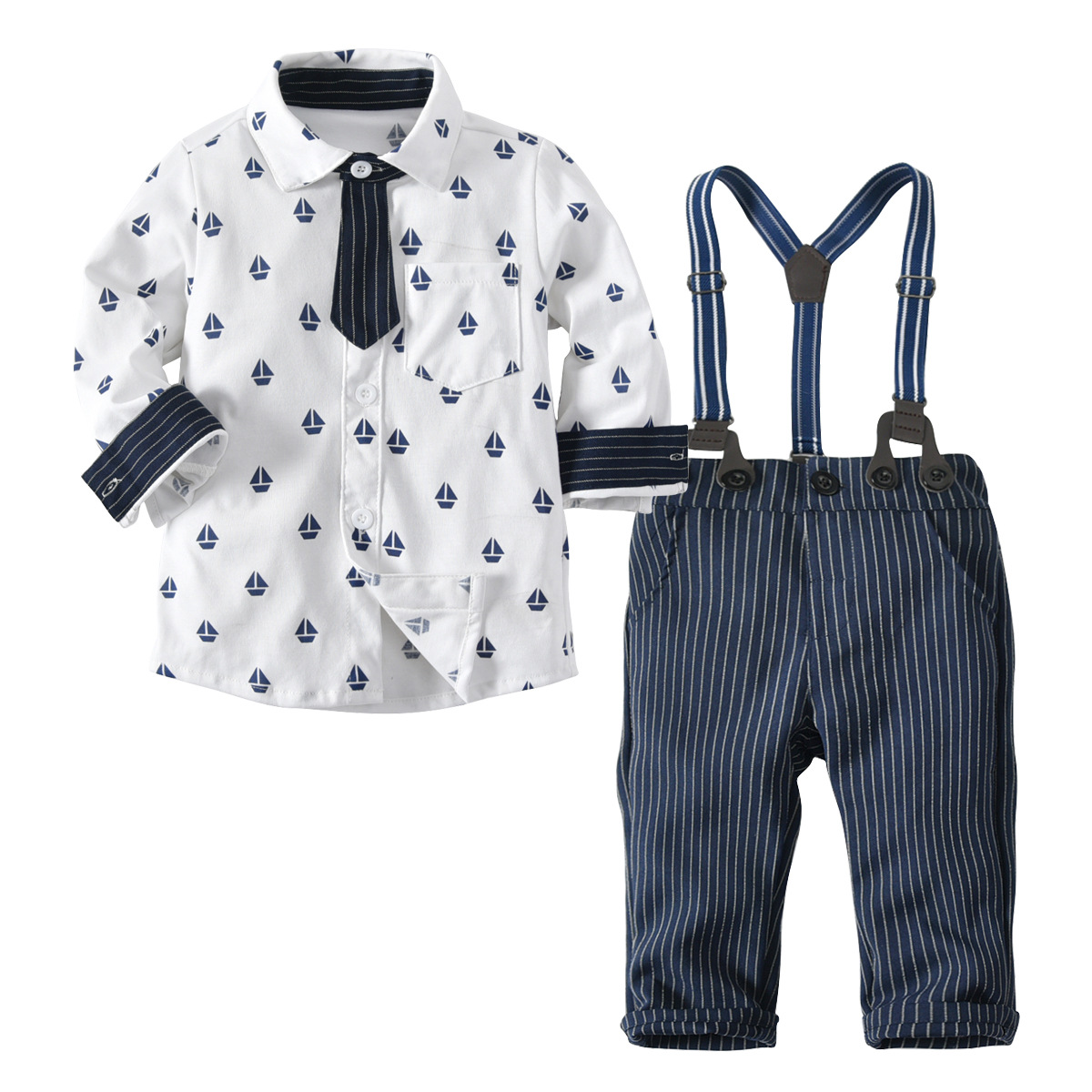 Baby Boys Clothes Sets Gentleman Shirt Removable Overalls Pants 2 Pcs Children Suits Toddler Boys Clothing Set Autumn 4 Years baby boys suits clothes gentleman suit toddler boys clothing infant clothing wedding birthday cotton summer children s suits