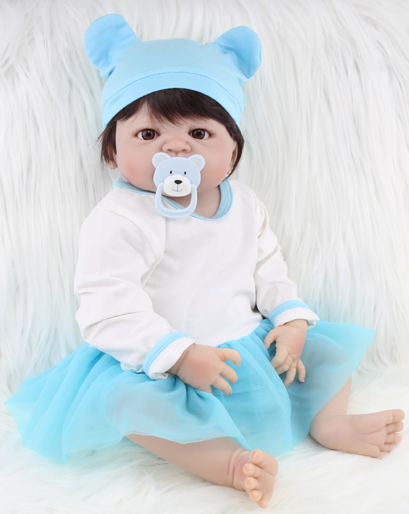 22 inch Full Silicone Body Reborn Baby Doll Toys Lifelike 55cm Newborn Girl Babies Dolls For Kid Lovely Birthday Gift Bathe Toy inverter pg x2 card pg new original