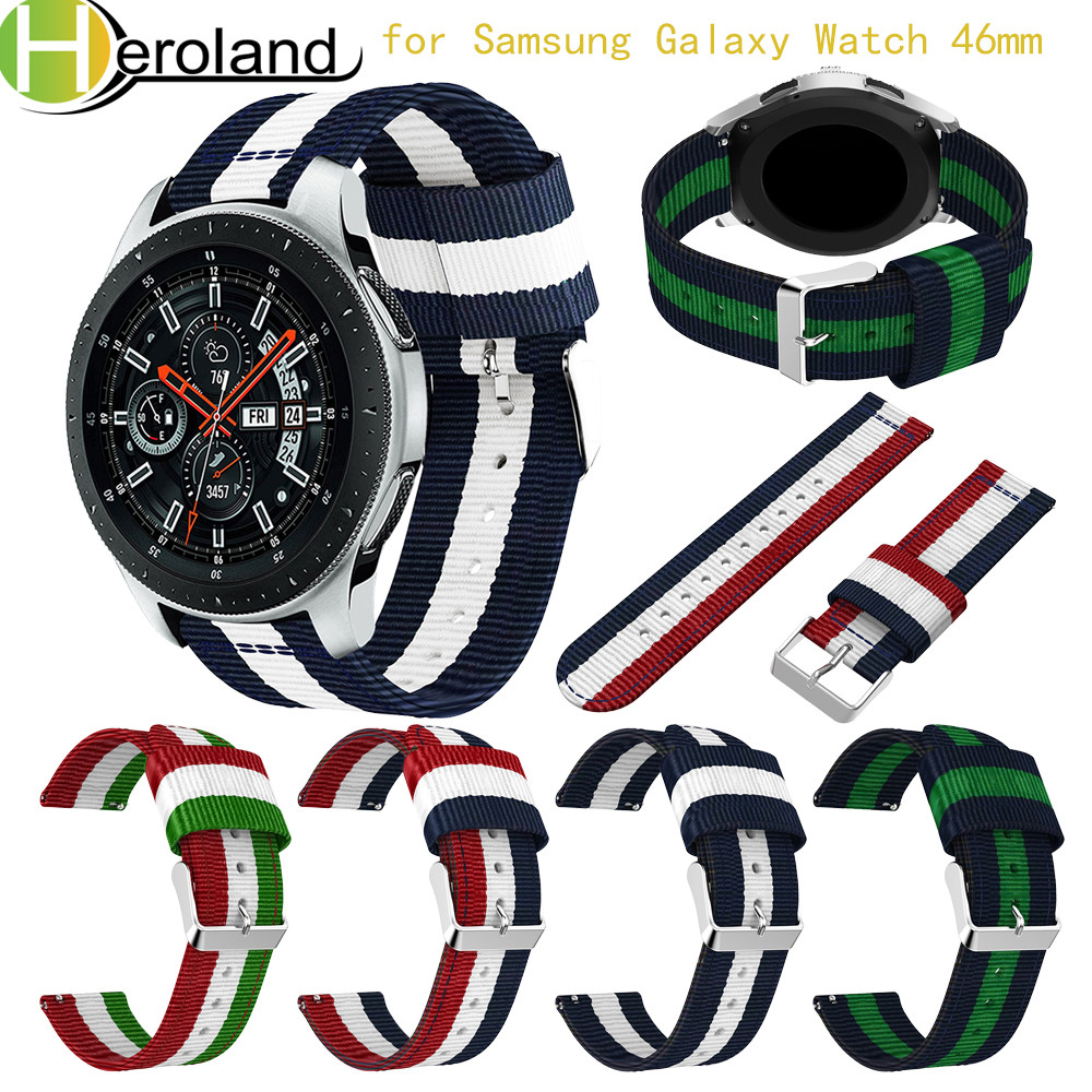 For Samsung Galaxy Watch  SM-R800 46MM Smart Watch Band 2018 Wristband 22MM Replacement Fine Woven Nylon Accessorie Sport Strap