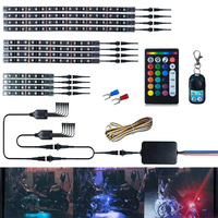 12Pcs Neon Atmosphere LED Motor Lights With Dual IR/RF Remote Controller for Harley
