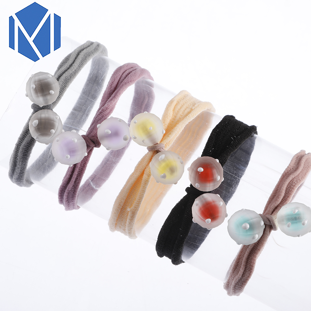 M MISM 1pc Hair Tie Rope Elasitc Bands With Colorful Ball For Children Girls Rubber Accessories