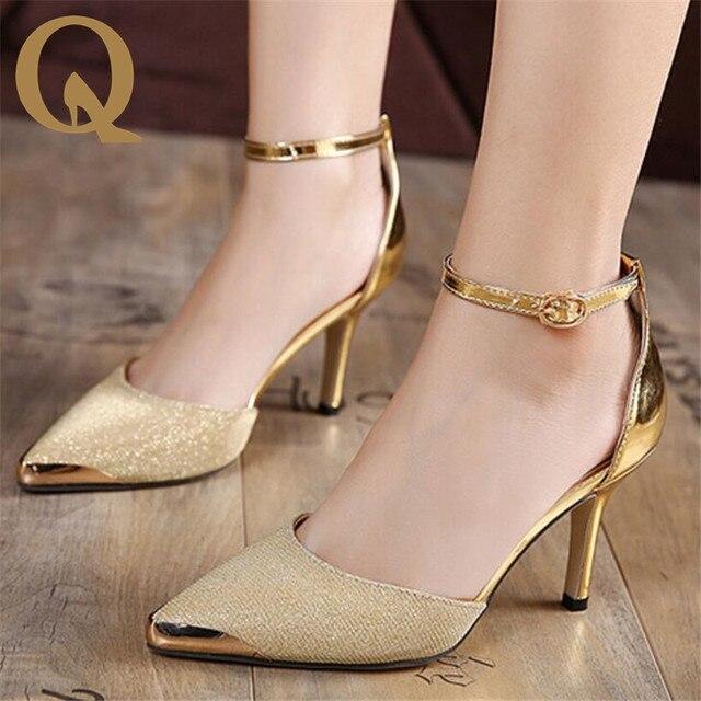 3ba9845a54 Venda quente Sandálias de Salto Alto Tornozelo-Envoltório Sandálias Das  Mulheres Bonitas Senhoras Ouro Prata