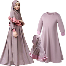 Two Sets Traditional Flowers Kids Clothing Fashion Child Abaya Muslim Girl Dress Jilbab and Islamic Children Hijab Dresses