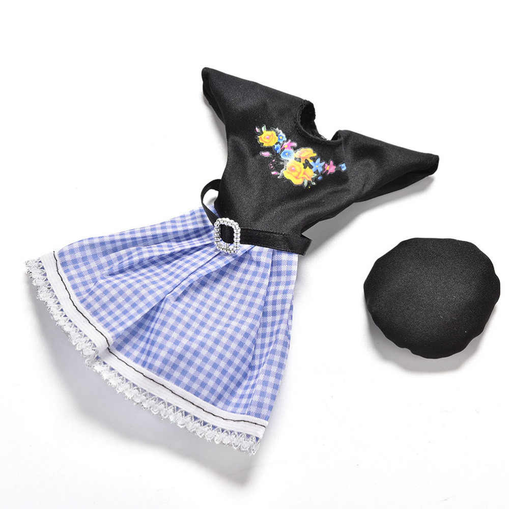 Pizies 1set=1 dress+ 1 Cap Summer Short Sleeve Flower Plaid Print Dress Doll Clothes Set Doll Clothing For