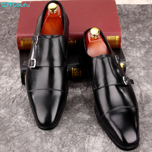 QYFCIOUFU Mens Double Monk Strap Classic Genuine Leather Dress Shoes Suit High Quality Elegant New