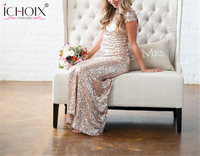 Wedding Sequins Sparkle Dress Robe Long Party Dress 2018 Backless Sheath Sexy Bridesmaids Dresses Elegant Evening