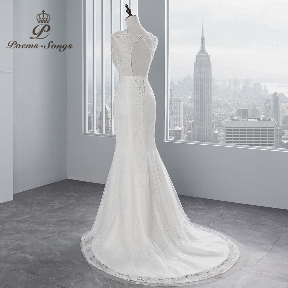 Image 4 - PoemsSongs real photo 2018 new style Sexy chest Mermaid wedding dress  No sleeves lace Wedding Gown Vestido de noiva-in Wedding Dresses from Weddings & Events