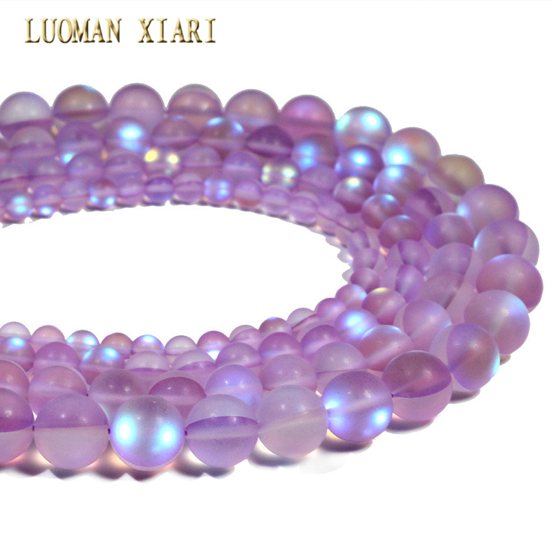 Wholesale Light Purple Austria Crystal Glitter Synthesis Moon Stone Beads For Jewelry Making DIY Bracelet Necklace 6/8/10/12 mm
