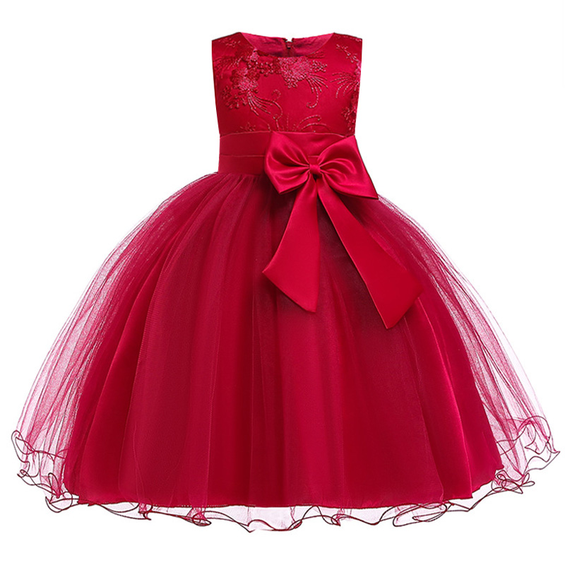 Princess Pageant First Communion Dress Flower Teenagers Dresses For Wedding Party Sequined Girl Party Bowknot Embroidery Dress