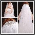 2017 new moldeado velo de novia 1.5 metros de velo de novia de alta calidad blanco marfil velos de novia accesorios trabajo hecho a mano