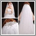 2017 new véu de noiva de alta qualidade véu do casamento frisado 1.5 metros branco marfim véus de noiva acessórios do casamento handwork